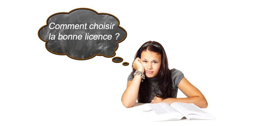 choisir la bonne licence